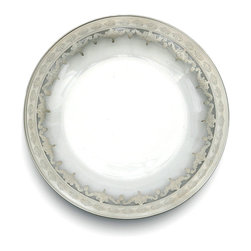 Vetro Silver Dinner Plate - Luxurious and splendid, this magnificent Vetro Silver Dinner Plate in Italian etched glass makes a cultivated statement when you add it to your table.  The look of the etched glass and sterling silver highlights perfectly suits the holidays, but any meal that needs a touch of festive solemnity and rich appearance turns into a feast when eaten from this attractive plate.