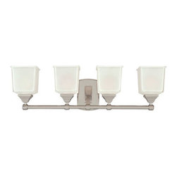 Hudson Valley - Lakeland Polished Chrome Four-Light Bath Light Fixture with Clear Outside/Froste - - Glass Color: Clear Outside/Frosted Inside  - Bulb Not Included  - Shade Material: Glass Hudson Valley - 2244-PC