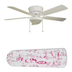 "Pink Toile Nursery Girls 52"" Ceiling Fan with Lamp - This is a brand new 52-inch 5-blade ceiling fan with a dome light kit and designer blades and will be shipped in original box. It is white with a flushmount design and is adjustable for downrods if needed. This fan features 3-speed reversible airflow for energy efficiency all year long. Comes with Light kit and complete installation/assembly instructions. The blades are easy to clean using a damp-not wet cloth. The design is on one side only/opposite side is bleached oak. Made using environmentally friendly, non-toxic products. This is not a licensed product, but is made with fully licensed products. Note: Fan comes with custom blades only."