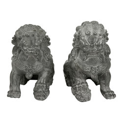 """Oriental Furniture - 6"""" Sitting Foo Dog Statues (Set of Two) - Reproduced from a pair of Chinese statues, these high-quality resin sculptures have been resized for easy display on a table or bookshelf. Commonly referred to as """"Foo Dogs"""" in the West, these figures actually represent lions and were traditionally placed on either side of a building entrance to act as guardians. A mirrored pair, the male rests his paw on an orb to represent power and strength while the female rests her paw on a playful cub to symbolize nurture and care."""