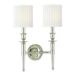 Hudson Valley Lighting - Hudson Valley Lighting 4902 Abington 2 Light Double Wall Sconce with Pleated Fau - Before gas and electric, moving about the house after sunset meant transporting a lit candle from room to room. A torch's long handle offered a safe and cool grip and the tapered shape could be easily set down in a mounted ring holder. Abington transcribes these historic design elements into a contemporary luminaire with Old World overtones. Pleated cylindrical shades add a rich finishing touch.Dimensions: