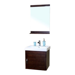 Bellaterra Home - 24.4 in Single wall mount style sink vanity-wood- walnut - Wall mount style vanity features with solid birch cabinet in rich walnut finish. Steel bracket in back for easy installation.
