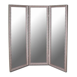 Hitchcock Butterfield - 3-Panel Folding Room Divider Mirror (69 in. W - Choose Size and Frame: 69 in. W x 71 in. H - Distressed Silver Black TrimIncludes four hooks for vertical or horizontal display. Non bevel. Made in USA. Antique Silver: 66 in. W x 70 in. H (75 lbs.). Antique Rouge Copper: 66 in. W x 70 in. H (75 lbs.). Antique Gold: 66 in. W x 70 in. H (75 lbs.). True Satin Black: 72 in. W x 72 in. H (75 lbs.). Dark Coffee Espresso: 66 in. W x 70 in. H (75 lbs.). Dark Walnut & Black Trim: 66 in. W x 70 in. H (75 lbs.). Royal Polished Gold: 66 in. W x 70 in. H (75 lbs.). Royal Stainless Silver: 66 in. W x 70 in. H (75 lbs.). Distressed Silver Black Trim: 69 in. W x 71 in. H (75 lbs.). Gold Panel & Silver Accents: 66 in. W x 70 in. H (75 lbs.). Verdi Green & Accented Gold: 75 in. W x 73 in. H (75 lbs.)