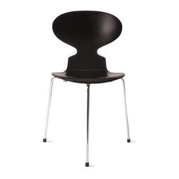 """Fritz Hansen - Ant Chair - 3 Leg - Originally designed for the canteen at Novo Nordisk, an international Danish healthcare company, the future of the Ant Chair (1952) was unclear when the manufacturer expressed concern about its potential. But Arne Jacobsen believed in his product and offered to buy all of the chairs if they didn't sell. Of course, he never had to make good on that offer as the Ant Chair quickly became an international success. Original design and licensed manufacture by Republic of Fritz Hansen. Made in Denmark. Jacobsen shaped the core of Danish design identity when he accommodated three different bends in one piece of plywood, simply by narrowing the chair back. This chair is ideally suited to the human body. Its seatback has a comfortable """"give"""" and its waterfall seat edge doesn't press into legs. Stackable up to six high."""