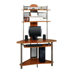 Studio RTA - Studio RTA A-Tower Corner Wood Computer Desk with Hutch in Pewter and Cherry - Studio RTA - Computer Desks - 60133 - The A-Tower Computer Desk provides maximum working area within a limited space. Steel tube construction gives it long lasting durability; while multiple shelves and a slide-out keyboard tray give this all the functionality you need.