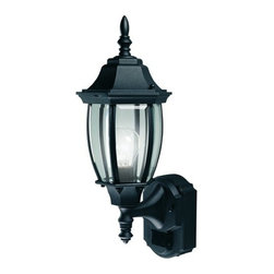 """Heath Zenith - Heath Zenith SL-4192-BK-A Black  1 Light 180 Degree Motion Activated - Heath Zenith SL-4192-BK-A 1 Light 180 Degree Motion Activated Six-Sided Diecast Aluminum Security Wall Sconce, Black with Curved Beveled GlassProviding both beauty and security for your home, the Heath Zenith SL-4192-BK provides full 180 degree motion sensing. This gorgeous Lamp is made of sturdy die-cast metal with a weather-resistant finish that will last for years. The design incorporates clear, curved beveled glass in a antique bronze housing. The 2-level brightness and 30 foot detection range, make this a very stylish and practical security lamp.Heath Zenith SL-4192-BK-A Features:Bottom Mount Outdoor Wall Sconce With Motion SensorBlack Metal Finish With Clear Beveled Glass180 Degree Motion Detection Line of SightSelectable On-Time From 1, 5, or 10 MinutesAdjustable Sensor SensitivityDualbrite Timer Dims Light To 50% at 3 Hours, 6 Hours, or Dusk-To-DawnDetects Motion Up to 30 Foot2 Year Manufacturer WarrantyHeath Zenith SL-4192-BK-A Specifications:Number of Bulbs: 1Bulb Base: MediumBulb Type: Incandescent or FluorescentBulbs Included: NoConstruction: Metal, GlassHeight: 18.5""""Width: 7""""Extension: 8.5""""Wattage: 100Watts Per Bulb: 100"""