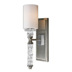 None - Campania 1-light Brushed Nickel Wall Sconce - This one-light sconce has brushed nickel plated details with a carved glass body with crystal accents. The elegant shade is a white frosted glass.