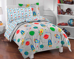 None - Space Rocket Twin-size 5-piece Bed in a Bag with Sheet Set - Bring the thrill of space exploration to your little one's bedroom with this rocket-themed twin-size bed in a bag. This multicolored set is made from soft and cozy plain-weave microfiber,and all five coordinating pieces are machine washable.