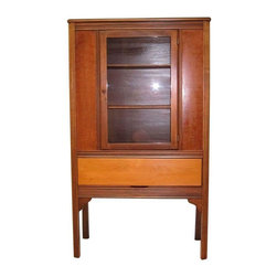 Used Depression Era Kitchen Cabinet - Very unusual Depression era kitchen china cabinet. Drawer in bottom of cabinet. Constructed of light weight materials and refinished with tung oil.  This cabinet was built during the Depression for families who could not afford a heavy, solid china cabinet but still needed storage space.