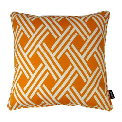 Lava - Fresco Orange 18 x 18 Pillow (Indoor/Outdoor) - 100% polyester cover and fill. Made in USA. Spot clean only. Safe for use indoors or out.