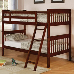 Coaster - Parker Twin Bunk Bed - This lovely twin over twin bunk bed will be a wonderful addition to the youth bedroom in your home. This classic bunk bed features a clean look, with straight vertically slatted headboards and footboards, and smooth side rails. Sturdy guard rails will keep your child on the top bunk safe, while an attached ladder makes it easy to get up and down. Constructed of pine, in a rich dark Cappuccino finish. Add the optional under bed storage unit for additional storage space in your youth room.
