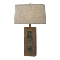 Kenroy - Kenroy Locke Transitional Table Lamp X-GDW19023 - Three panels of faux wood are held together with a unique hinge piece on the base of this Kenroy Lighting table lamp. From the Locke Collection, this transitional table lamp features a Dark Wood Grain finish with metal accenting, paired with a tan rectangular shade whose texturing compliments the finish perfectly.