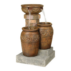 "Lamps Plus - Tuscan Patio Floor Fountain - This floor fountain features water cascading from two spouts cut into a low-sided bowl. Faux stone steps and a faux brick pedestal create a tiered effect. A wonderful touch indoor and out. Faux stone and ceramic finish. Lightweight resin construction. Pump is included. Includes two 5 watt halogen bulbs. Plugs into any standard wall outlet. One year warranty. For outdoor/indoor use. 5 ft cord plugs into any standard wall outlet. 31 1/2"" high. 19"" wide. 19"" deep.  Floor fountain.  Faux stone and ceramic finish.  Lightweight resin construction.  Pump is included.  Plugs into any standard wall outlet.  One year warranty.  For outdoor/indoor use.  Includes two 5 watt halogen bulbs.  31 1/2"" high.  19"" wide.  19"" deep.  5 ft cord plugs into any standard wall outlet."
