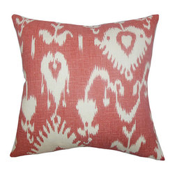 The Pillow Collection - Cleon Red 18 x 18 Ikat Throw Pillow - - Pillows have hidden zippers for easy removal and cleaning  - Reversible pillow with same fabric on both sides  - Comes standard with a 5/95 feather blend pillow insert  - All four sides have a clean knife-edge finish  - Pillow insert is 19 x 19 to ensure a tight and generous fit  - Cover and insert made in the USA  - Spot clean and Dry cleaning recommended  - Fill Material: 5/95 down feather blend The Pillow Collection - P18-PT-BRISTOW-CRANBERRY-L1