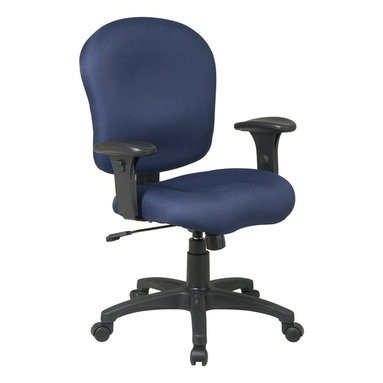 Office Star - Task Office Chair with Adjustable Soft Padded - Fabric: Black in Icon PatternKeenly adaptable, this office task chair swivels a complete 360 degrees to keep you mobile at your workstation and has adjustable controls for the tilt, tilt tension, and seat height of the chair.  Upholstered in your choice of several fabric colors. * Pneumatic Seat Height (1). 360° Swivel (4). Tilt (5). Tilt Tension (8). Tilt Lock (9). 40 in. H x 28 in. W x 23.5 in. D