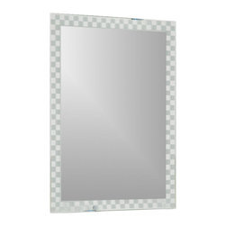 Decor Wonderland Mirrors - Decor Wonderland Frameless Checkmate Wall Mirror - Mirror on the wall this is the most fun and modern of them all. This frameless wall mirror is perfect for your hallway, living room, den or bathroom. Features a checkers design and beveled edges.
