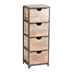 Cyan Lighting - Cyan Lighting-04862-Talford - 12.25 Inch Four Drawer Storage - Raw Iron/Natural Wood Finish  Material: Iron and Wood