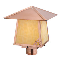 "Meyda Lighting - Meyda Lighting 12"" Sq Stillwater Dragonfly Post Mount - A Solitary Dragonfly Accents The Edge Of This Handsome American Craftsman Post Mount Lantern. The Handsome Fixtures"