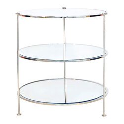 """Worlds Away - World Away Three Tier Table Side Table-Available in Two Different Colors, Nickel - This classic yet modern circular three tier table is a great utility piece that can go anywhere in any kind of home decor. The table features mirrors on each shelf. Measures 25"""" in diameter X 28""""H. The table is available in a Gold Leaf or Nickel Plated finish."""