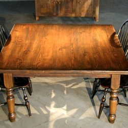 Very Rustic Square Farmhouse Table - Made by www.ecustomfinishes.com