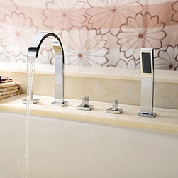 Bathtub Faucets - Chrome Finish Brass Tub Faucet with Hand Shower--faucetsmall.com