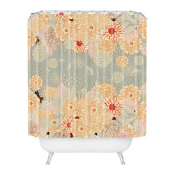 DENY Designs - Iveta Abolina Creme De La Creme Shower Curtain - A bevy of beautiful blossoms adorns this spirited shower curtain, designed by artist Iveta Abolina. It's made of machine-washable polyester, so it'll keep looking fresh, shower after shower.