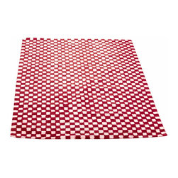 Renovators Supply - Carpet Runners Red/White Check 100% Cotton Carpet Runner 30 x 96 - Checkered Rug. All cotton rug soft, thick and durable. Country checkered rug style for a casual feel. Latex protective backing, not reversible. Lightly vacuum, do not dry clean. Chemicals may damage latex backing. Hand-woven in India.