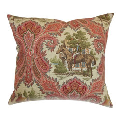 """The Pillow Collection - Gelsey Paisley Pillow Redwood - Rich and elegant, this floral throw pillow makes a beautiful addition to your furniture. With a colorful and intricate design, this square pillow is a perfect statement piece for your living room or bedroom. In shades of red, green, brown and blue, the 18"""" pillows brings life to your space. This accent pillow is made from 100% high-quality cotton material. Hidden zipper closure for easy cover removal.  Knife edge finish on all four sides.  Reversible pillow with the same fabric on the back side.  Spot cleaning suggested."""