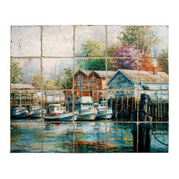 Tile Art Gallery - Splash Decor Tile Mural - Nicky Boehme - Harbor - You'll feel the tug of the water when you see this gorgeous harbor scene by Nicky Boehme. The tile mural is easy to install so you can mount it in a tiled opening as your kitchen backsplash when you need a window view with a peaceful setting.