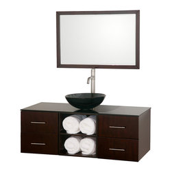 Wyndham Collection - 48 in. Bathroom Vanity Set with Storage Space - Includes one bathroom vanity, one smoke glass sink and matching mirror. Faucets not included. 8 stage painting and coloring process. Modern wall mounted installation. Smoke glass top. Deep doweled drawers. Side mount drawer slides. Single hole faucet mount. Open and easy access storage spaces. Four drawers. Metal hardware. Made from wood and MDF. Gray, espresso and brushed chrome color. Care Instruction. Vanity: 48 in. W x 21 in. D x 23.5 in. H. Mirror: 36 in. W x 24 in. H