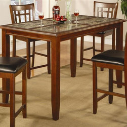 Coaster - Buckingham Counter Height Dining Table - Stools sold separately. Contemporary style. Rectangular shape. Natural marble like inlaid table top. Straight edges. Sleek tapered legs. Made from wood veneers and solids. Warm cherry finish. 60 in. L x 36 in. W x 36 in. H. WarrantyCreate an exquisite statement in your dining room with this counter height table.