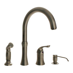"""MR Direct - MR Direct 710-BN Brushed Nickel 4 Hole Kitchen Faucet - The 710-BN  Four-Hole Kitchen Faucet is available in a brushed nickel, oil-rubbed bronze, or chrome finish. It contains a 360 degree spout and includes a soap dispenser and side spray for easy cleaning. The dimensions for the 710-BN are 12 5/8"""" tall with a 9 7/8"""" spout reach and it is ADA approved. The faucet is pressure tested to ensure proper working conditions and is covered under a lifetime warranty. The 710-BN has so many great components that are sure to make your kitchen sink user-friendly."""