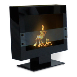 Anywhere Fireplace - Tribeca II Floor Standing Fireplace - Thesimple, elegant design and the beautiful satin black finishof the Tribeca II model Anywhere Fireplace on a stand will create a dramatic statement and add architectural interest to any room. Just place it on the floor in any room and your guest will be impressed at the style and sophistication it adds toany decor, traditional to contemporary. Assembles easily in just a few minutes. An additional feature of the Tribeca IIAnywhere Fireplace is that if you would ever want tochange it to hang on a wall instead of sitting on the floor,you can purchase thewall brackets, remove the baseand it will easily convert to a wall-mount fireplace. Truly one of a kind fireplace that will give you thereal dancing flames a fireplace, but without construction, connections and without the hassle of smoke, fumes, soot or smell.Totally clean and beautiful for you to enjoy anywhere. USES Bio-ethanal LIQUID FUEL