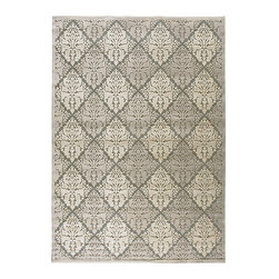 Ballard Designs - Dynasty Rug - Transitional rug design works with most decors. Use of a rug pad is recommended. Sizes are approximate. An oversized diamond design and an understated tonal palette of gray and ivory update a classic damask pattern. The rug's high/low loop pile construction creates wonderful depth and dimension and softness underfoot. Power loomed of polypropylene and acrylic blend for the perfect combination of durability and softness. Dynasty Rug features:. . .