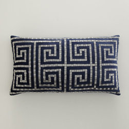Callisto Home Greek Key Bead Pillow - The beadwork on this chic lumbar pillow makes it extra special. I would love to see it on a couch or sectional.