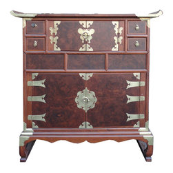 Golden Lotus - Korean Multiple Drawers Burl Wood Inlay End Table Cabinet - This is a Korean end table that has multiple drawers and shelves. This piece is surrounded by many beautiful brass strips. It was made in China by a Korean-run factory.  This beautiful piece has two shelves, four small drawers and two hidden drawers. Each drawer has a beautiful metal handle. Especially, the front of cabinet is made of burl wood, and it looks gorgeous.  You can use this piece as a storage for small items.