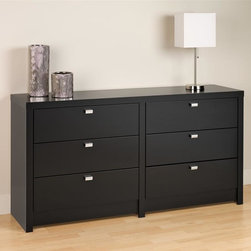 Prepac - Series 9 Designer 6 Drawer Dresser (Black) - Finish: BlackIncludes an instruction booklet for easy assembly. Drawers run smoothly on metal glides with built-in safety stops. Clear lacquered real wood drawer sides. Drawers feature a stylish rectangular chrome finished metal pull. 5 year manufacturers limited parts warranty. Made from CARB-compliant, laminated composite woods with a sturdy MDF backer. Made in North America. Assembly required. Drawer Interior: 24.75 in. W x 12.5 in. D x 5 in. H. Overall: 58.5 in. W x 15.25 in. D x 29.75 in. HThe Series 9 Designer 6 Drawer Dresser has bold, thick tops and sides that will provide your bedroom with a high level of sophistication and style. This dresser pairs substance and style with chrome finished metal drawer pulls that provide easy access to six drawers' worth of space for your clothing. Take advantage of this dressers eye-catching thick top and sides by adding decorative candles, photos and more on its top surface. Pair it with other pieces from the Series 9 Designer Collection from Prepac to complete your bedroom makeover.