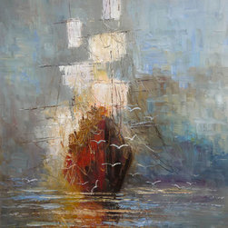 overstockArt.com - Kopania - Nostalgy - Nostalgy is a beautiful image of a full sailed ship navigating calm waters. Enjoy its beauty and color reproduced as a fine canvas hand painting. Justyna Kopania is from Warszawa, Poland. In her words when she paints she tries to show the 'world', which could be seen by looking at reality that surrounds us, from another perspective, unusual, remote, sometimes through the eyes of the child, sometimes music, composer, or someone who looks lichen on the sea, the moon , the sky and the stars ..., the river ... looks out the window and looks out into the street. Walking down the street looking at people's faces. In rain, snow or fog. Perhaps the world that surrounds us really is quite different than we perceive it every day.