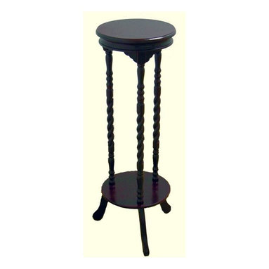 ORE International - Walnut Finish Indoor Plant Stand - This is a stately round table top done  with twist poles in the mission furniture style. It works great as a plant stand, but can also be used like any other table top, a good place for an extra lamp.. Dimensions: 15.75 in. L x 13.5 in. W x 6 in. H ( 13.5 lbs. )