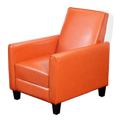 Great Deal Furniture - Jamestown Orange Leather Recliner Chair - Relax in your very own recliner club chair. Enjoy the dual-function that features both a foot extension as well as a reclining back. Chair is great for small spaces creating a great place to take a nap or watch TV.