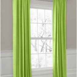 Lime Green Faux Linen Custom Outdoor Drapery - Your outdoor space can look hot and stay cool at the same time with custom Convertible Outdoor Drapery panels that can hang on the rod or with rings. Perfect for adding shade and style to sunrooms, cabanas and covered porches! We love it in this super soft (yes, we're serious!) bright green faux linen.  So comfy it works indoors and out.