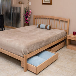 El Paso Wood Queen Platform Bed - El Paso Queen Platfiorm Bed shown in Oak with an Oil Finish. Optional drawers and nightstand also pictured. Photo Credit: Dave Cady