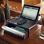Frontgate - Frontgate Cambridge Charging Station - Full-grain leather is embossed with a stylish crocodile pattern. Chrome-plated aluminum detail. Faux suede-lined drawer provides additional storage for keys, wallets, and watches. 120V. Includes four adapters: one mini USB, one micro USB, and two Apple iPod/iPhone/iPad connectors (not compatible with iPhone5 or iPad mini; adaptor sold separately). Fashioned from crocodile-embossed, full-grain leather and finished with chrome-plated aluminum detail, our Cambridge Charging Station is the perfect place to unload your pockets at the end of the day. It conceals a revolutionary slim charging tube that simultaneously powers an iPad plus three additional devices, while keeping your dresser free of clutter. .  . .  .