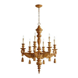 "Cyan Design - Traditional Brenton 28"" Wide French Umber 6-Light Chandelier - Classic umber 6-light chandelier. French umber finish. Resin and wood construction. Carved tassel blocks hang from squared scroll arms and bobeche trays. Drip-wax candle covers in metallic tones. Intricate canopy matches chandelier motif for a complete look. Six maximum 60 watt or equivalent candelabra bulbs (not included). Includes 8 feet of chain 9 feet of cord. 37 1/2"" high. 28"" wide. 28"" deep. Canopy is 5"" wide. 40 lb. hang weight.   Classic umber 6-light chandelier.  French umber finish.  Resin and wood construction.  Carved tassel blocks hang from squared scroll arms and bobeche trays.  Drip-wax candle covers in metallic tones.  Intricate canopy matches chandelier motif for a complete look.  Six maximum 60 watt or equivalent candelabra bulbs (not included).  Includes 8 feet of chain 9 feet of cord.  37 1/2"" high.  28"" wide.  28"" deep.  Canopy is 5"" wide.  40 lb. hang weight."
