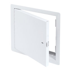 """Best Access Doors - Fire Rated Un-Insulated Access Door with Flange, High Quality White Powder Coat, - 36"""" x 36""""  - Fire Rated Un-Insulated Access Door with Flange.  The BA-PFN Wall access Hatch is not insulated and can only be used on fire rated walls. It comes with a 1""""   flange for an easy flush installation on any type of surface material. As per UL standards, once the installation is complete and the provided springs installed, this door will be self closing and self locking. It should not be used in situations where protection against temperature elevation is required. The largest fire rated PFN door available is: (36""""   x 36""""  ).     BA-PFN fire rated access door specifications,  Submittal Sheet - Material: 16 gauge cold rolled steel frame and 20 gauge galvanneal steel door Hinge: Continuous piano hinge Lock / latch: Self latching tool-key operated slam latch and/or ring operated slam latch, both included Inside panel release: Included on all slam latch fire doors Automatic panel closer: Standard on all doors Finish: DuPont high quality white powder coat Packaging:   For installation in  vertical wall assemblies only.  2 hour fire barrier, rating 1 frac12  hours. Access/Door Frame Assembly (uninsulated) for installation in vertical wall assemblies. Maximum door size of: 36"""" x 36"""". Standards listed: NFPA 252-2003, UL 10b, UL-555, CAN/ULC S112 M90-R2001, CAN/ULC S104-10.  MEA # 507-06-M Fire rated by  Intertek - Warnock Hersey"""