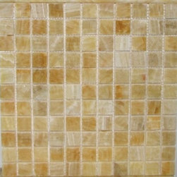 Honey Polished Square Pattern Onyx Tiles, 100 Sheets Lot - 1 in. x 1 in. Honey Mesh-Mounted Square Pattern Onyx Mosaic Tile is a great way to enhance your decor with a traditional aesthetic touch. This polished mosaic tile is constructed from durable, impervious onyx material, comes in a smooth, unglazed finish and is suitable for installation on floors, walls and countertops in commercial and residential spaces such as bathrooms and kitchens.
