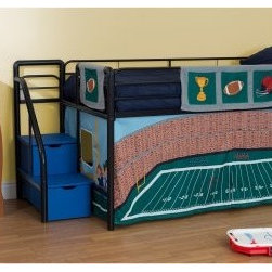 Football Stadium Junior Loft with Blue Steps and Storage - Black - Give your future MVP the perfect place to dream about his play calling with the Football Stadium Junior Loft with Blue Steps and Storage - Black. The decidedly manly black color features a bright accent in the blue steps. The steps open to reveal convenient storage that mom and dad will love. The themed tent creates a cozy play area under the bunk, and can be removed to be laundered or stored as your child grows up. Guard rails on the bed ensure you'll score 2 points for a safety.About Dorel IndustriesFounded in 1962, Dorel Industries is a family of over 26 brands, including bicycle brands Schwinn and Mongoose, baby lines Safety 1st and Quinny, as well as home furnishing brands Ameriwood and Altra Furniture. Their home furnishing division specializes in ready-to-assemble pieces, including futons, microwave stands, ladders, and more. Employing over 4,500 people in 17 countries and over four continents, Dorel is renowned for their product diversity and exceptionally strong commitment to quality.We take your family's safety seriously. That's why all of our bunk beds come with a bunkie board, slat pack, or metal grid support system. These provide complete mattress support and secure the mattress within the bunk bed frame. Please note: Bunk beds and loft beds are only to be used by children 6 years of age or older.