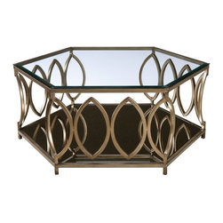 Standard Furniture - Standard Furniture Santa Barbara Hexagonal Glass Top Cocktail Table - Elegant Santa Barbara has a glamorous vintage Hollywood look, with its geometric metal frames finished in a classy champagne color.