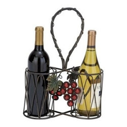 "Benzara - Sheet Metal Wine Holder 15""H, 10""W - Sheet metal wine holder 15""H, 10""W. Some assembly may be required. Size: 10""x4""x15""."
