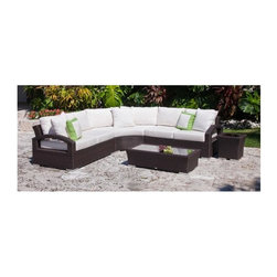 Source Outdoor - Como Lago 5 Pc Patio Set in Espresso Finish - Includes right arm facing lounge chair, left arm facing lounge chair, curved corner lounge chair, coffee table and side table. High quality powder coated aluminum frame to prevent rust and corrosion. Thick outdoor foam cushions covered in polyester fabric. It is recommended that furniture not be stored upside down. Warranty: Limited three years residential for defects in workmanship as well as in materials and one year for fabrics/cushions. Made from high density polyethylene wicker and aluminum. Right arm facing lounge chair: 56 in. W x 35 in. D x 35 in. H (61 lbs.). Left arm facing lounge chair: 56 in. W x 35 in. D x 35 in. H (61 lbs.). Curved corner lounge chair: 80 in. W x 35 in. D x 35 in. H (56 lbs.). Coffee table: 48 in. W x 24 in. D x 13 in. H (32 lbs.). Side table: 18 in. W x 18 in. D x 18 in. H (13 lbs.)Premier Outdoor Furniture offers its customers a complete ensemble of high quality comfortable outdoor furniture. You can furnish your outdoor area with seating, lounging, dining, bar tables, barstools and much more. Our furniture is built to Hospitality grade and meant to be outside in the elements 24/7. Wicker ensures the long lasting beauty of the furniture.